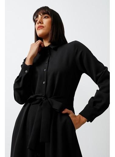 Gusto Gömlek Yaka Uzun Elbise  Siyah